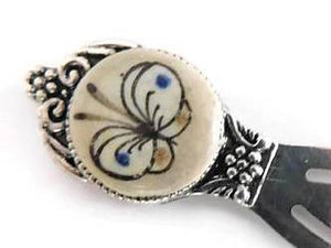 Blue & white butterfly cameo bookmark, Ken Edwards designed stone