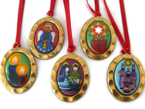hand-painted nativity cameo ornaments
