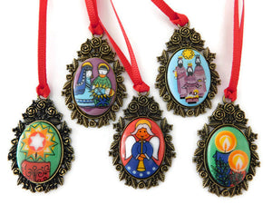 multicolored nativity story Christmas ornaments