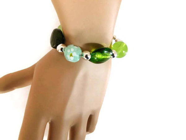 green glass & acrylic beaded bracelet with floral accents, OOAK
