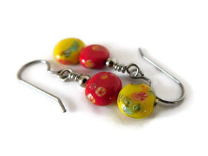 handmade red and yellow millefiori drop earrings, fresh floral style
