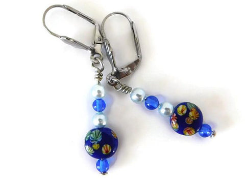millefiori royal blue lever back earrings, vintage inspired