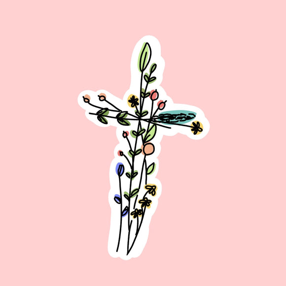 Floral Cross Sticker | Free Shipping