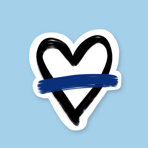 Thin Blue Line Heart Sticker (FREE SHIPPING)