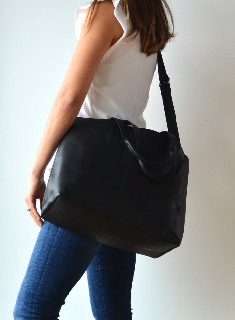 Black Leather Diaper Bag