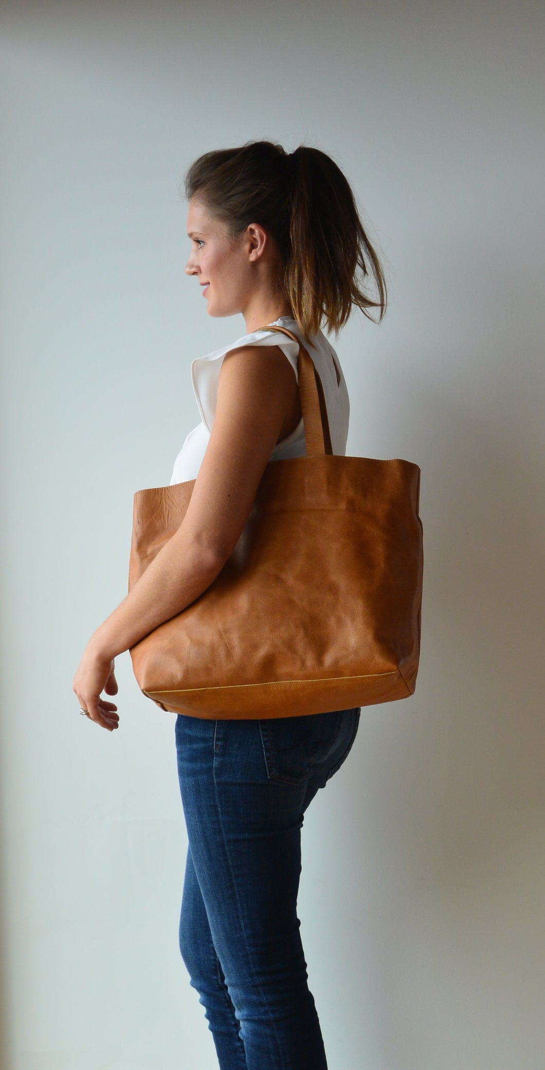 Brown Leather Diaper Bag