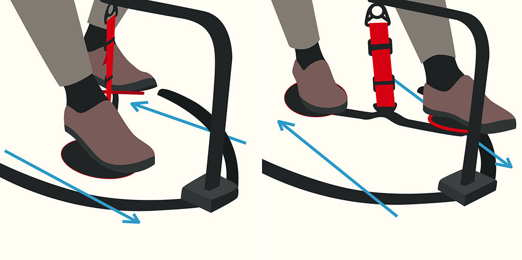 vector graphic illustrating how to do the helicopter exercise move using the hovr leg swing under desk exercise equipment