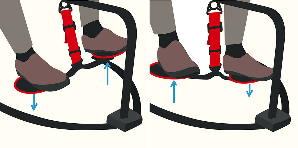 vector graphic illustrating how to do the marching exercise move using the hovr leg swing under desk exercise equipment