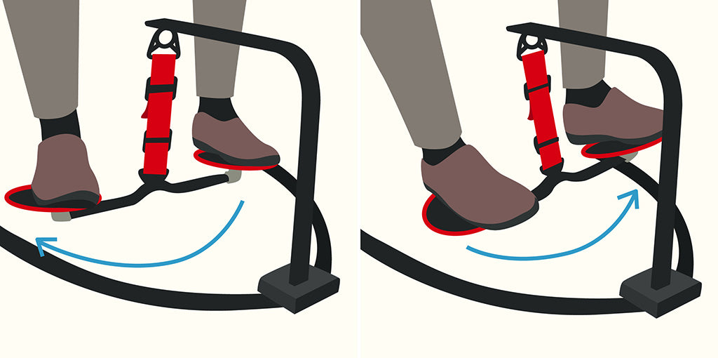 vector graphic illustrating how to do side-to-side movement using the hovr leg swing under desk exercise equipment