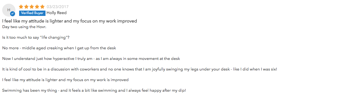 screenshot of five star review for hovr desk swing