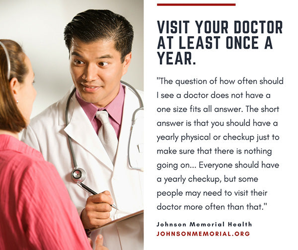 doctor talking to patient with text quote