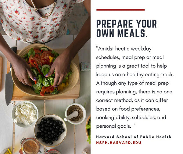 women preparing salad with text quote on meal prep