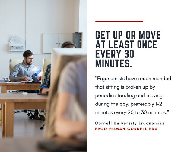 male employee sitting at the office with text quote on recommended sitting