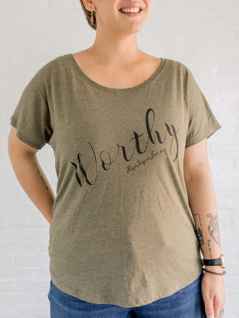 Worthy Flowy Scoop Neck Tee - Military Green