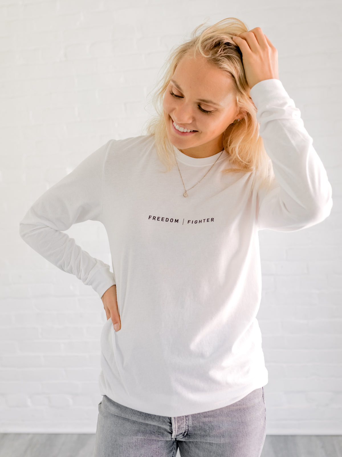 FREEDOM FIGHTER - White Long Sleeve T-Shirt