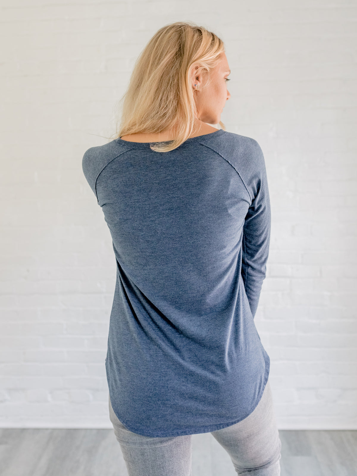 Freedom Sparrow - Blue Long Sleeve Scoop Neck Shirt