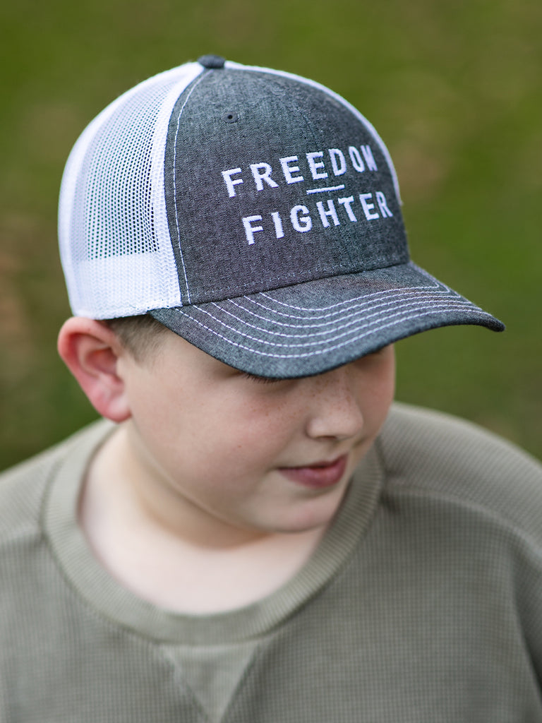 Gray/White FREEDOM FIGHTER Trucker Hat