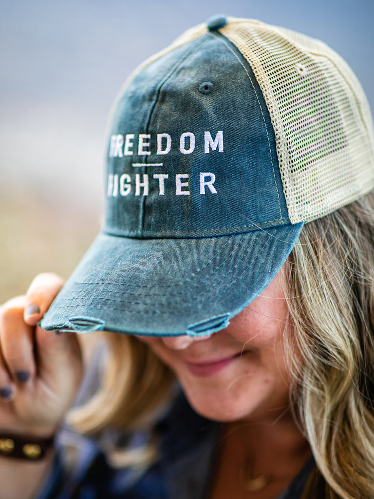 Distressed Denim Washed FREEDOM FIGHTER Cap