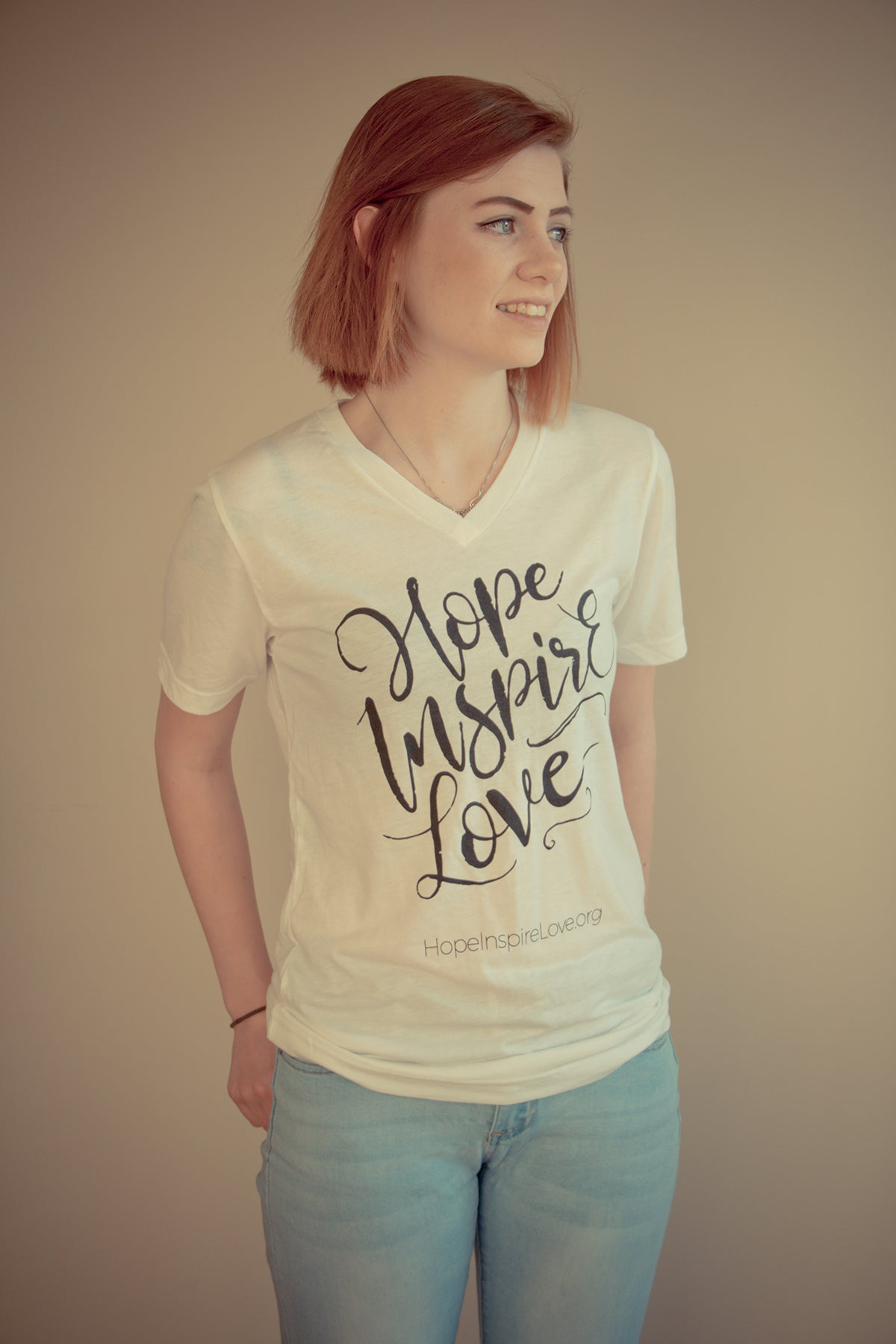 Hope Inspire Love - White V-Neck Short Sleeve T-Shirt
