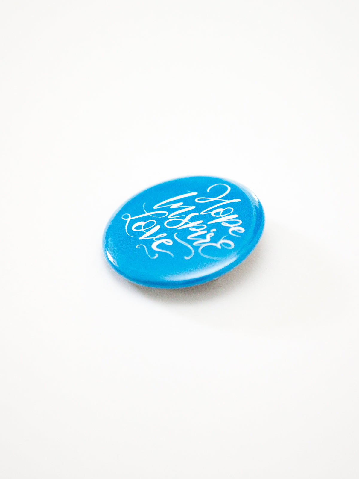 Hope Inspire Love Cyan Button