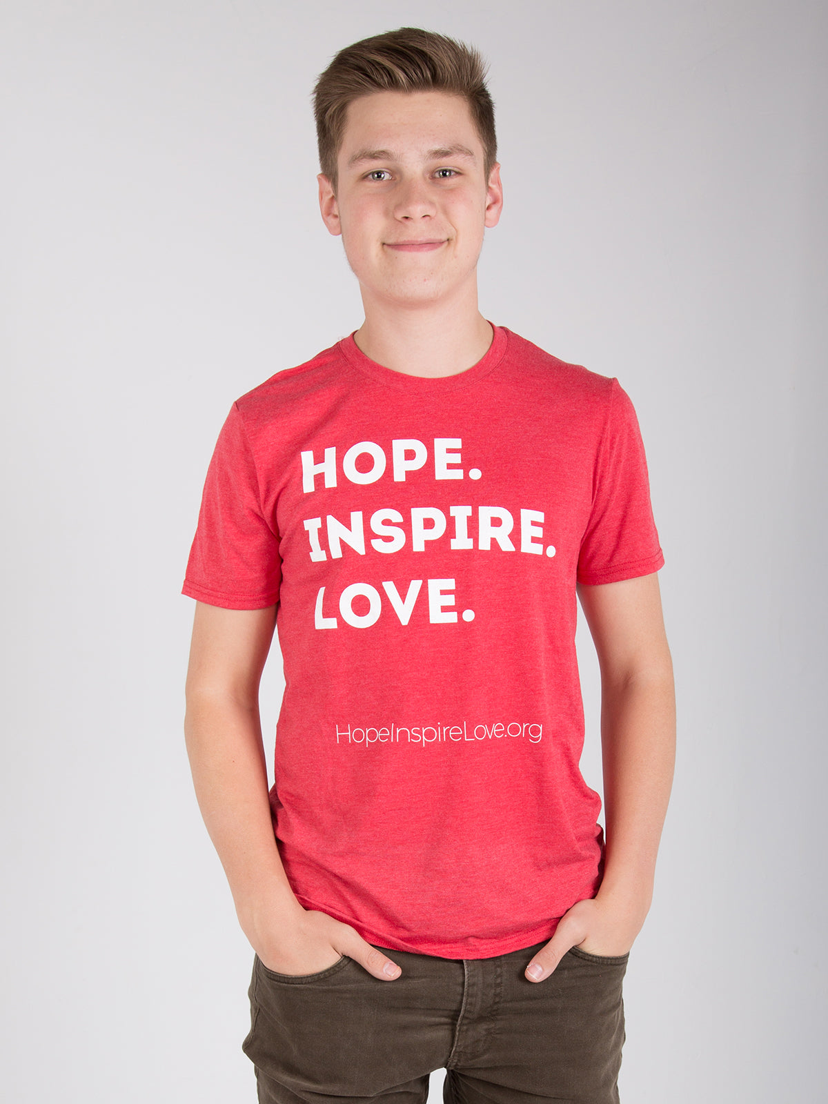Hope Inspire Love - Short Sleeve T-Shirt - Heather Red - Unisex