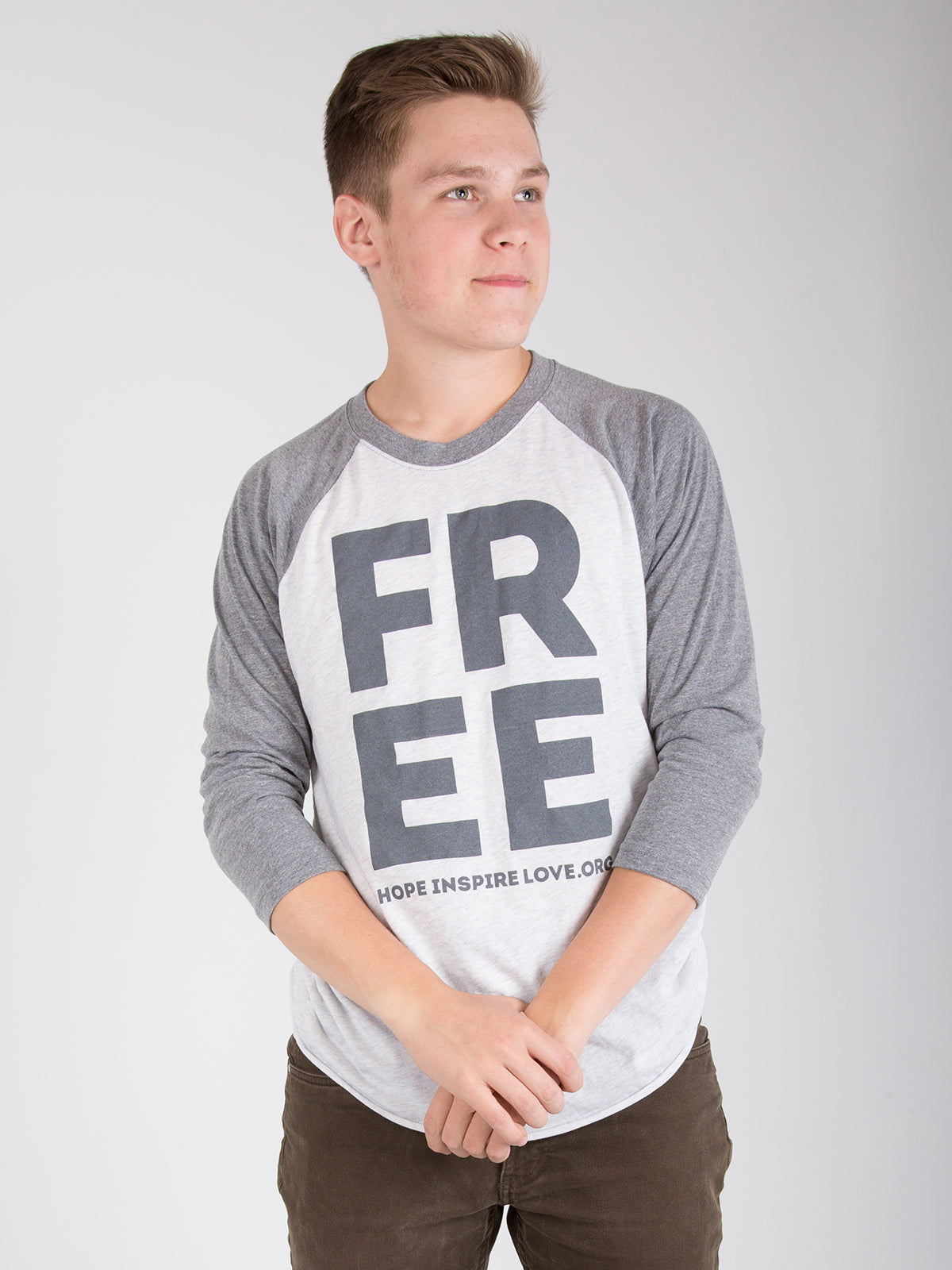 FREE 3/4 Sleeve Baseball Tee - Light Grey - Unisex