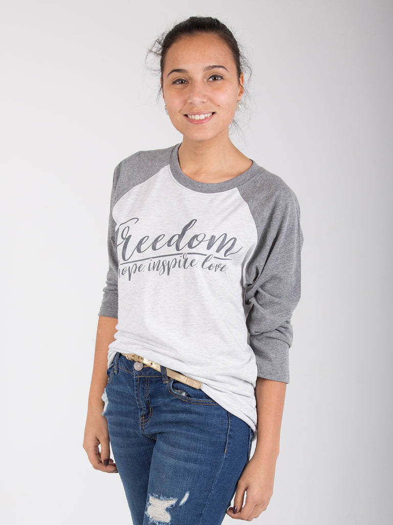 FREEDOM 3/4 Sleeve Baseball Tee - Light Grey - Unisex