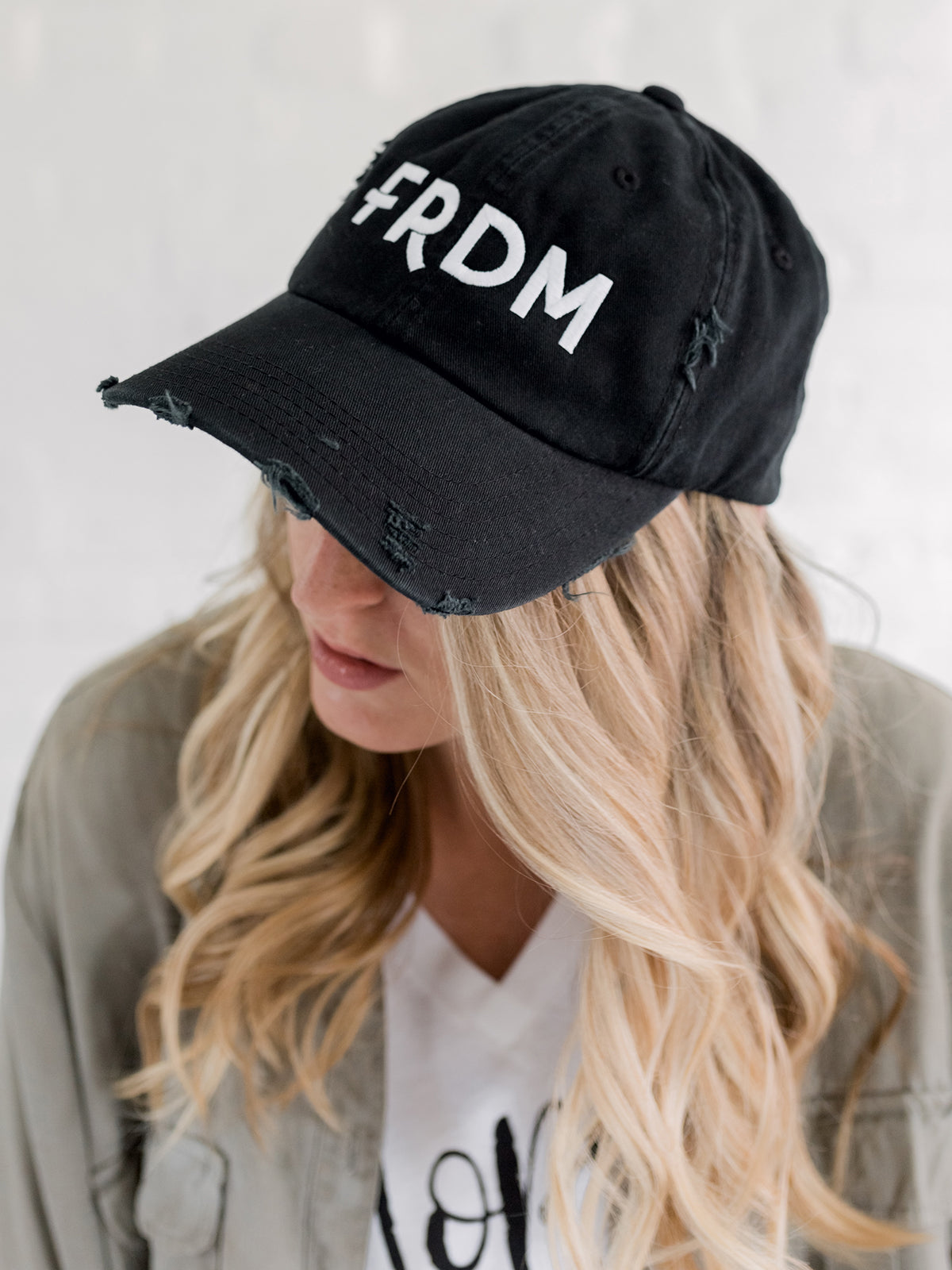 Distressed Black FRDM Cap