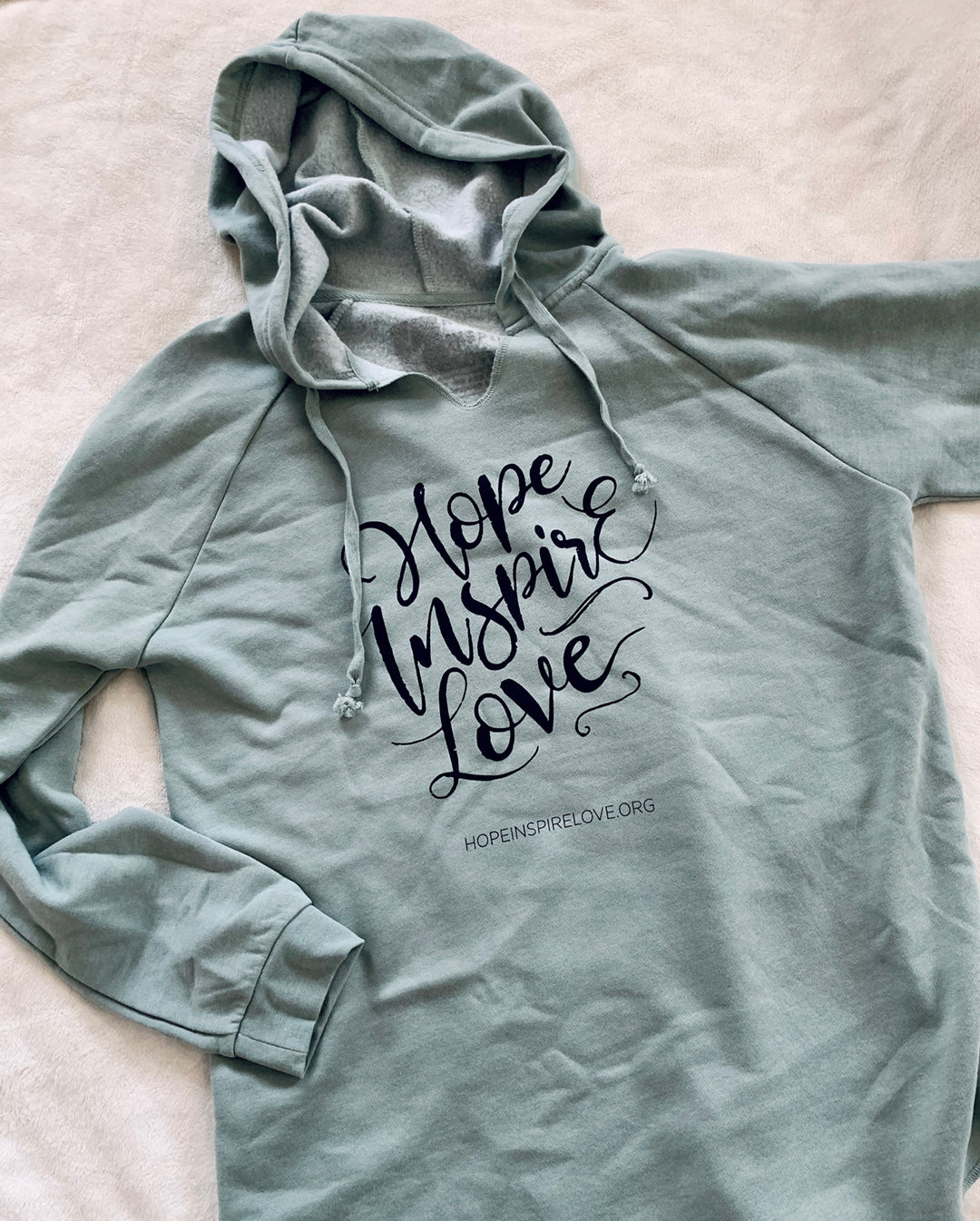 Hope Inspire Love Script Hoodie - Wave Washed Sage