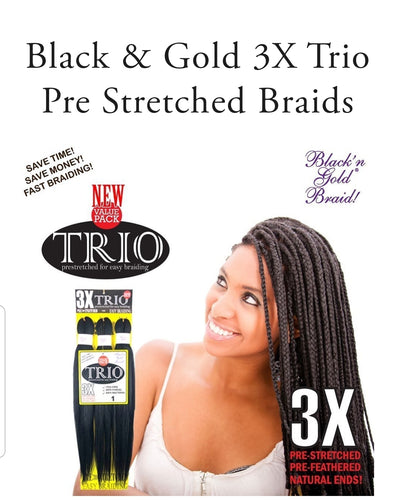 3x Trio Prestretched for Easy Braids- Blan'n Gold