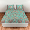 teal birds of a flower duvet set