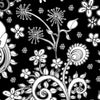 Black and white floral throw pillow