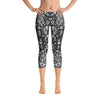 Abstract Capri leggings, Workout Pants 'Black Birds of a Flower'