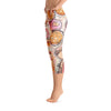 Abstract Capri leggings, Workout Pants 'Flower Doodle'