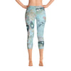Abstract Capri leggings, Workout Pants' Organic in Blue'