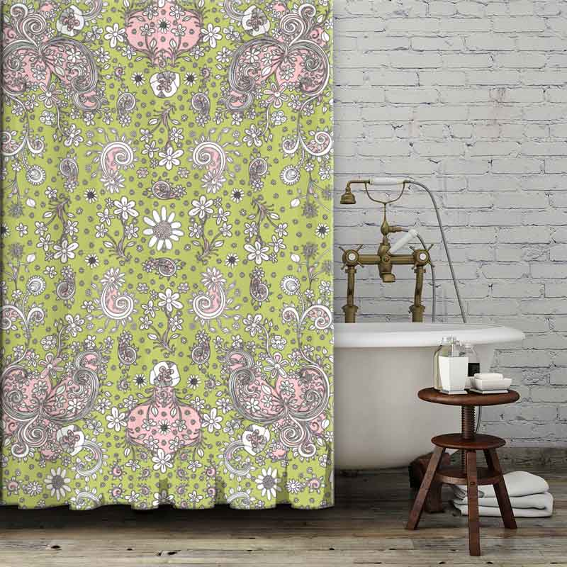 Shower Curtain Green And Pink Floral