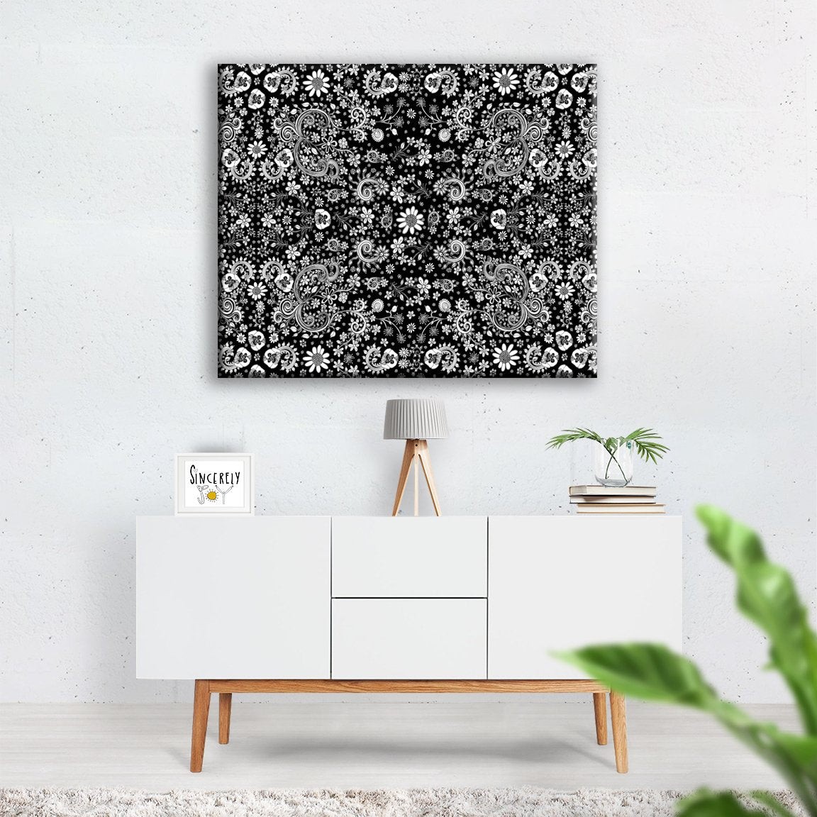 Art Print On Canvas Black And White Birds Of A Flower Castle Of Joy