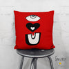 'EYE LOVE YOU' Throw Pillow Red