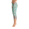 Abstract Capri leggings, Workout Pants 'Teal Birds of a Flower'