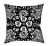 Floral throw pillow black white design illustration.
