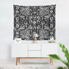 black and white floral wall art tapestry