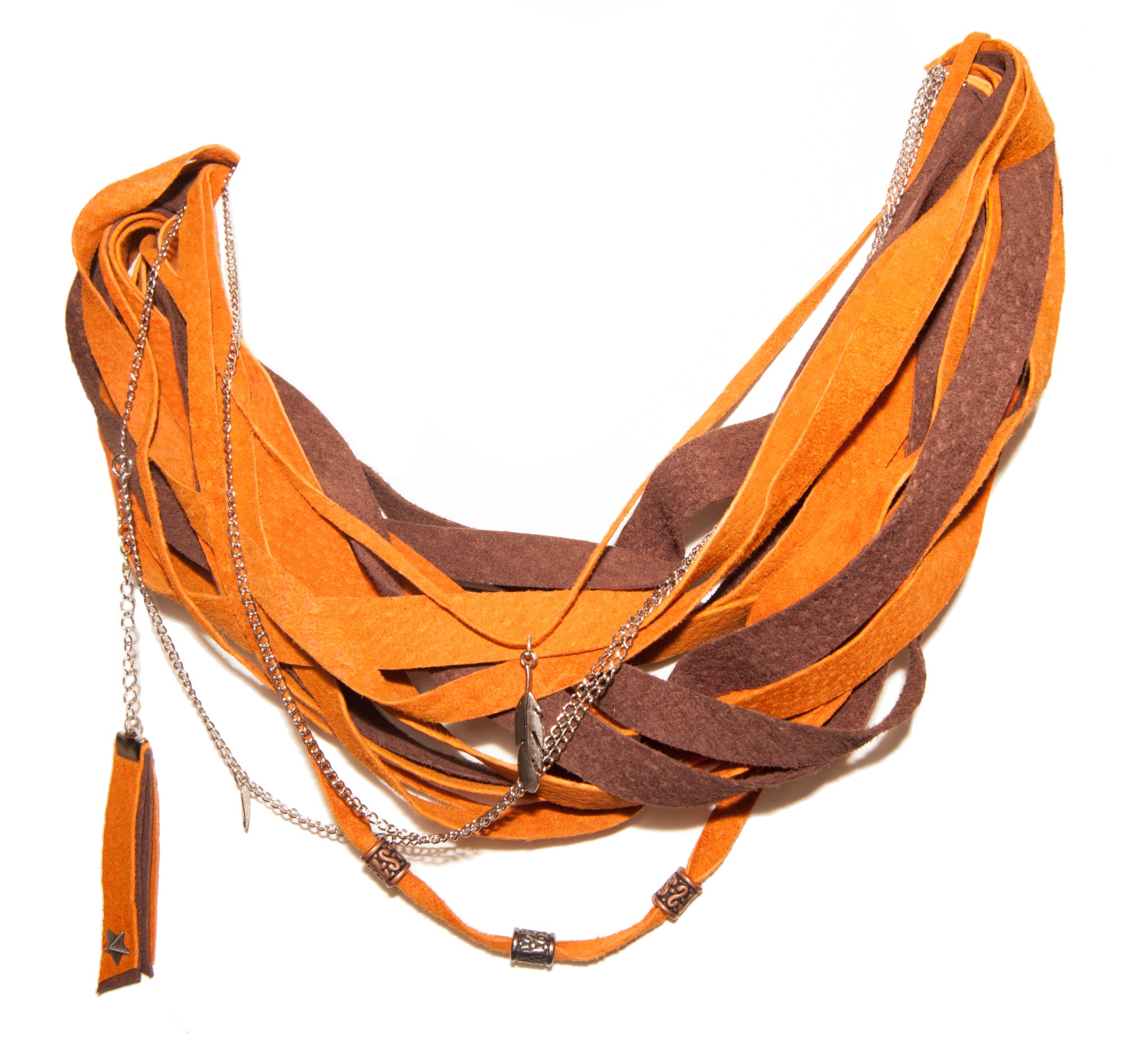 Orange and Brown Leather Scarf Necklace