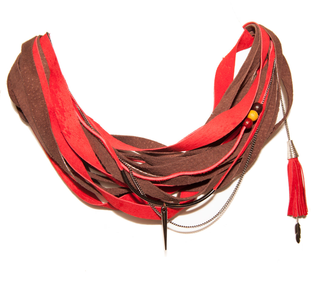 Red and Brown Leather Scarf Necklace