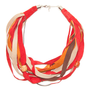 Beige, Orange, Red and Brown Leather Scarf Necklace