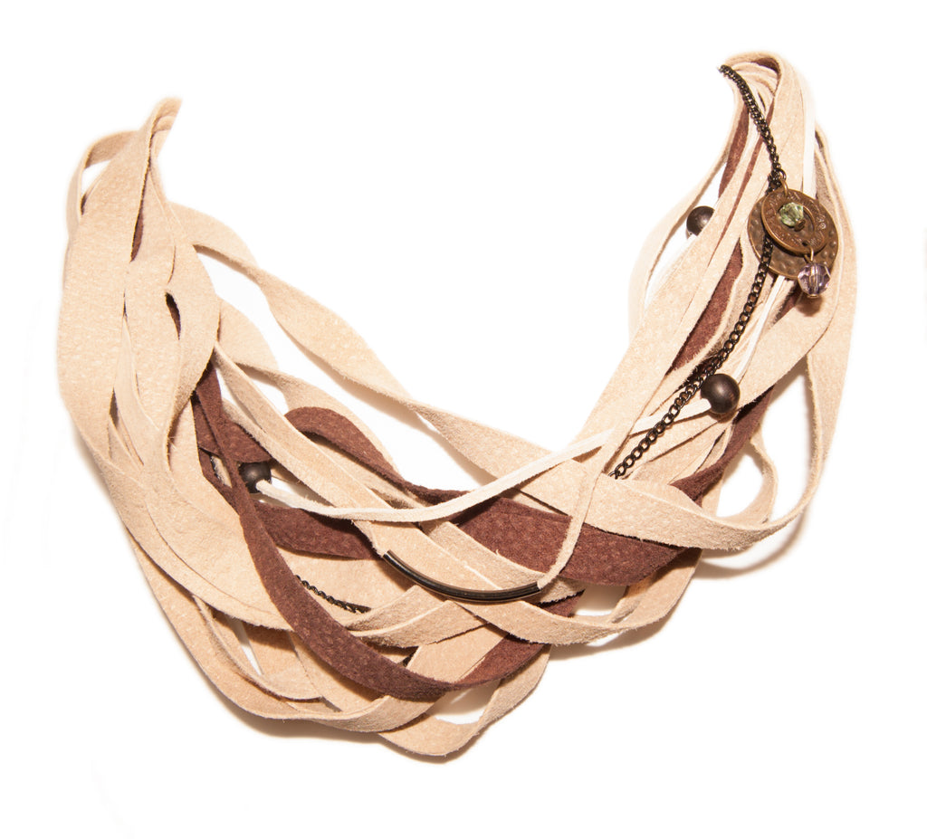 Beige and Brown Leather Scarf Necklace