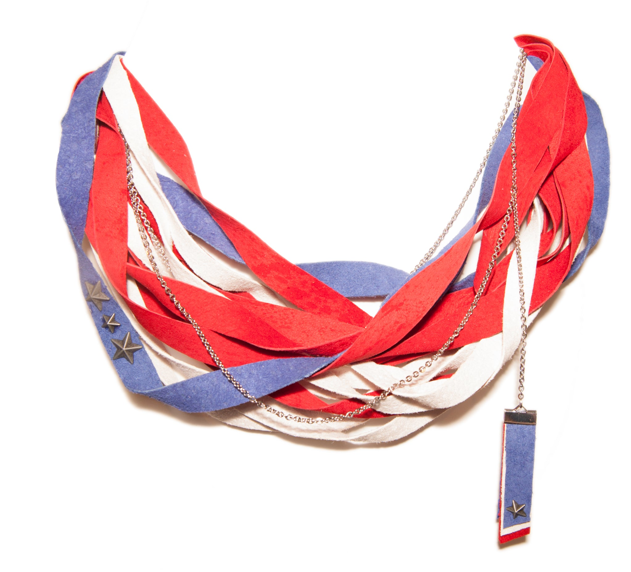 Red, White and Blue Leather Scarf Necklace