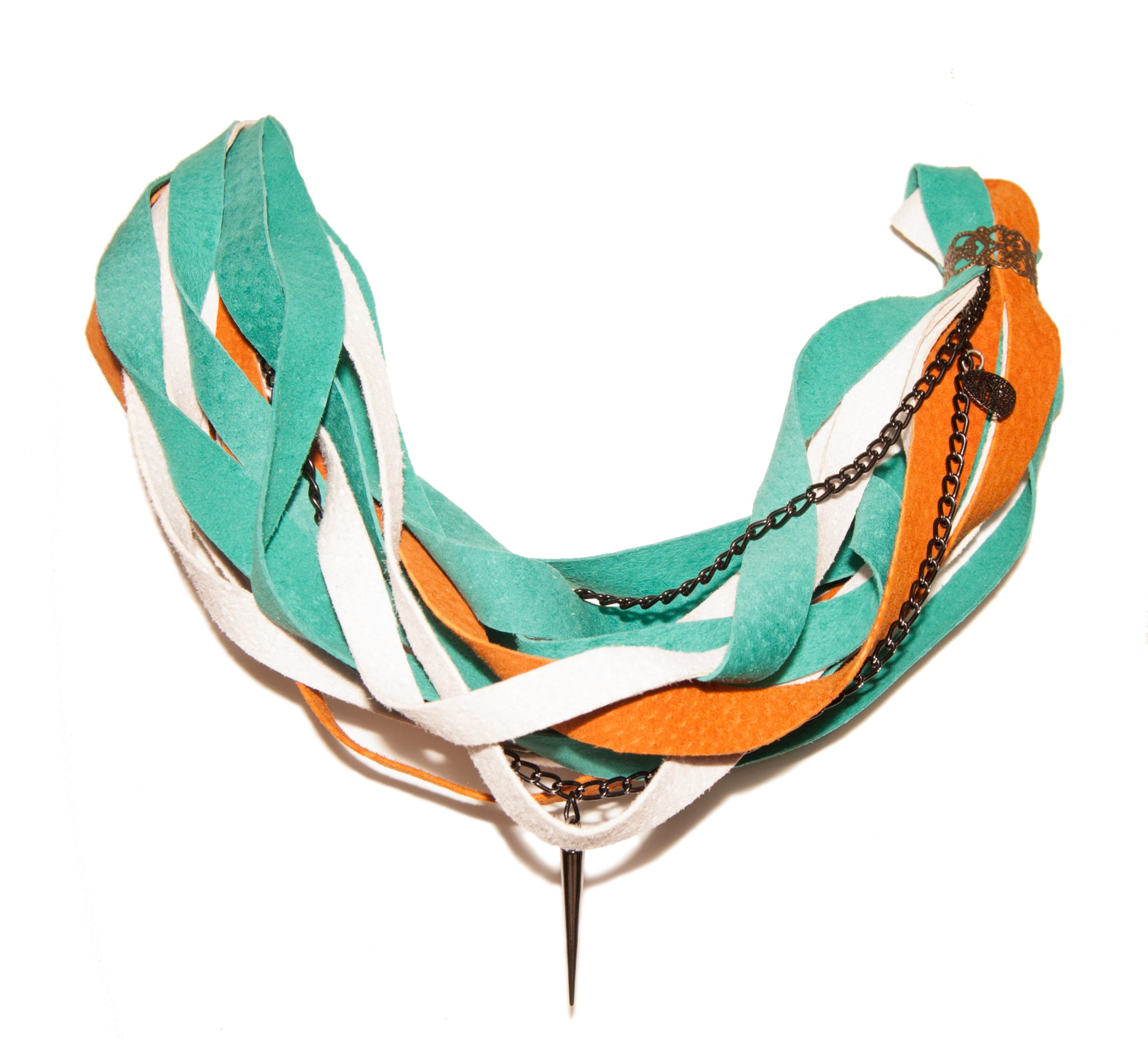 Teal, White and Orange Leather Scarf Necklace
