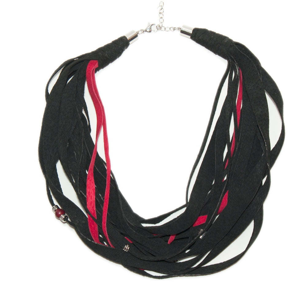 Black and Red Leather Scarf Necklace