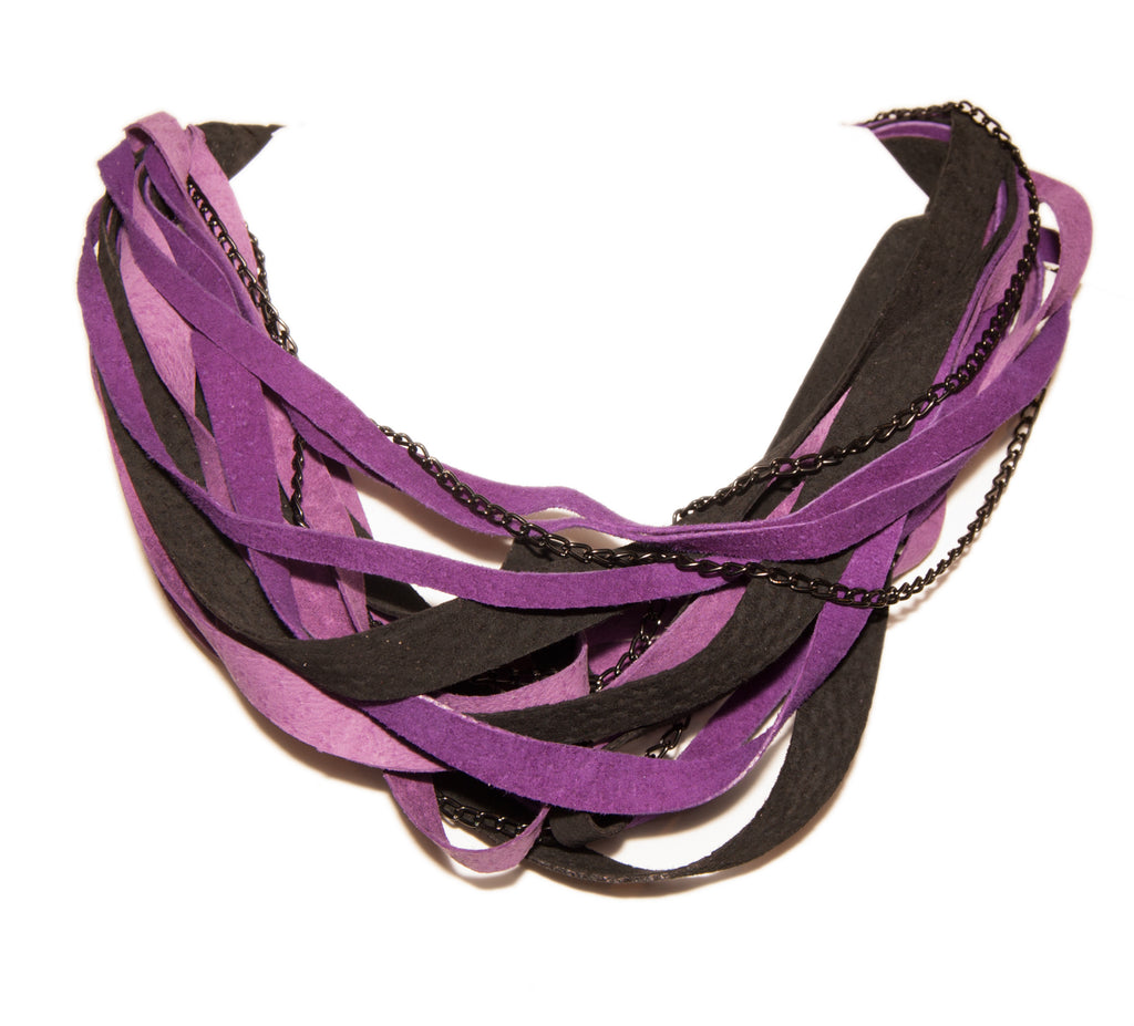 Purple and Black Leather Scarf Necklace