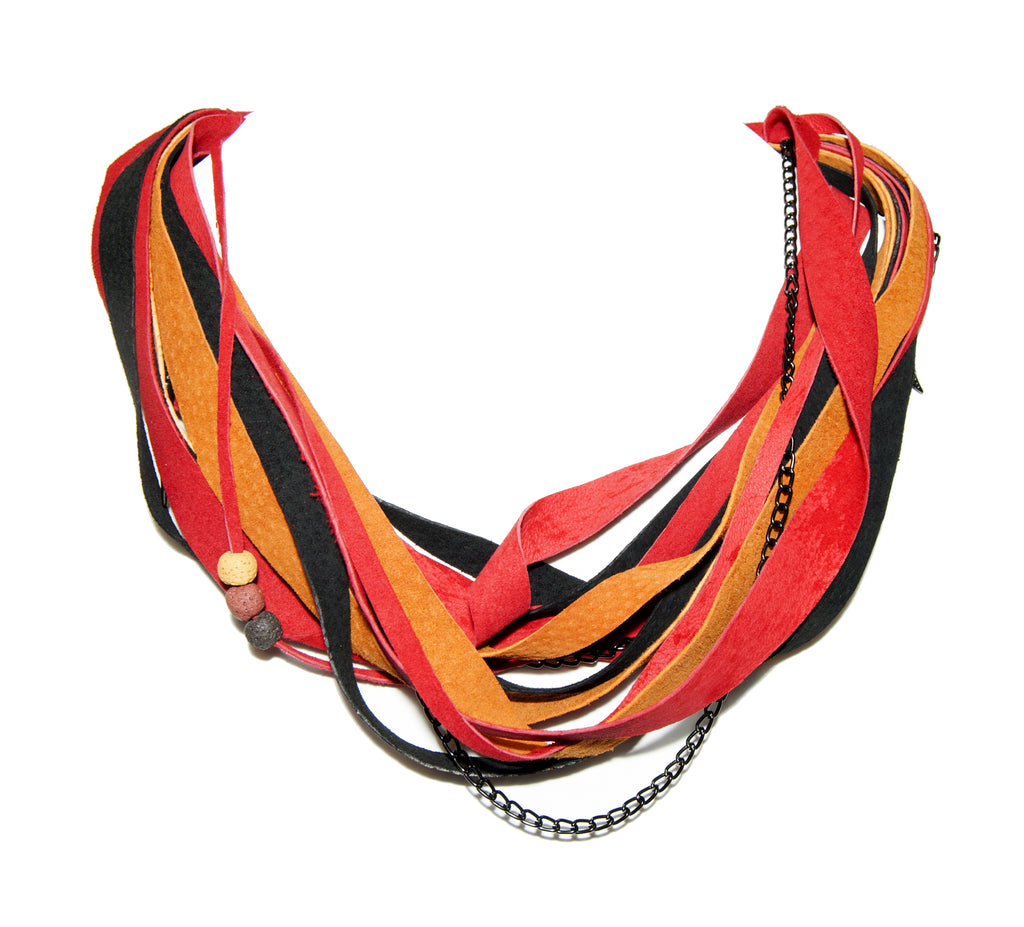Orange, Red and Black Leather Scarf Necklace